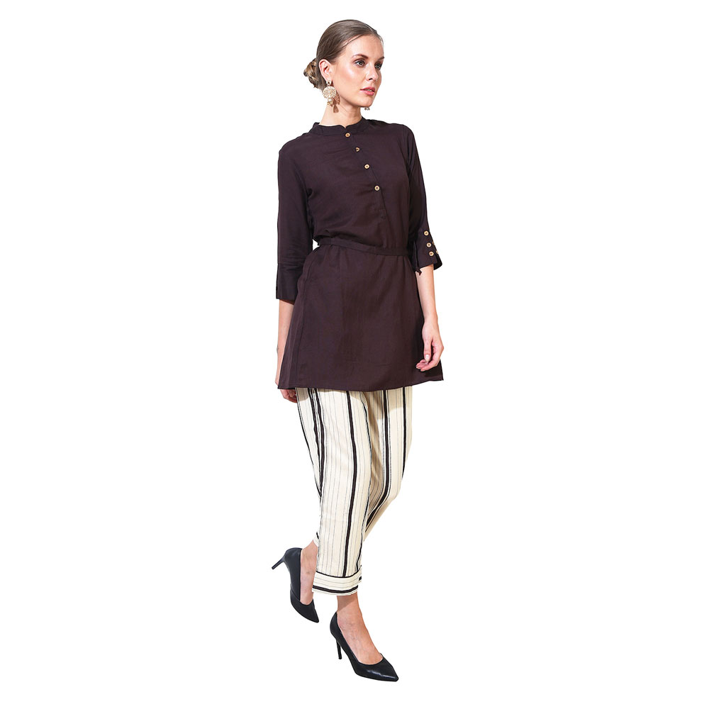 Paislei Brown Top And Striped Pant Set- AM-1364