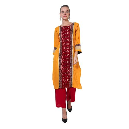 Paislei Mustard Yellow Digital Print With Red Front Panel- TF-1140