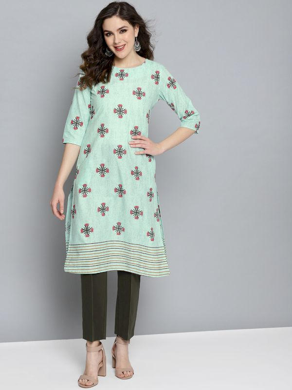 HERE&NOW Floral Printed Straight Kurta