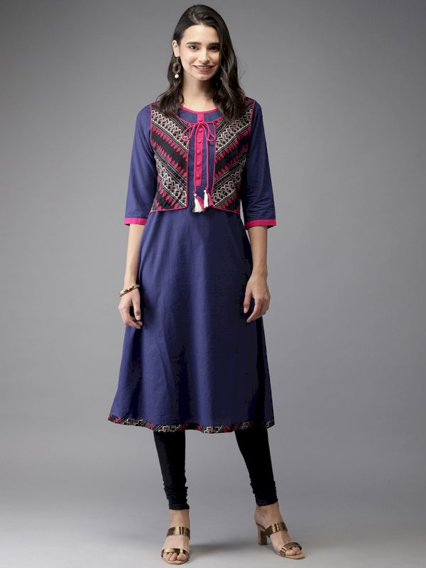 HERE&NOW Solid A-Line Kurta