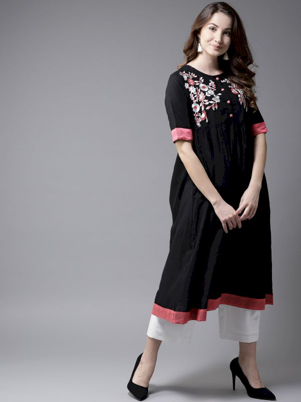 HERE&NOW Embroidered A-Line Kurta