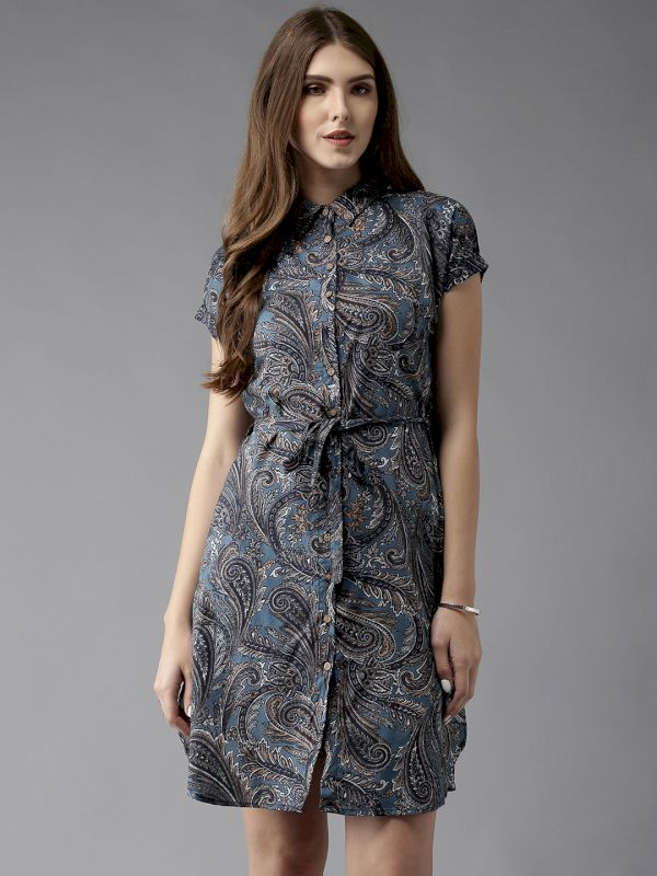 HERE&NOW Women Printed Shirt Dress