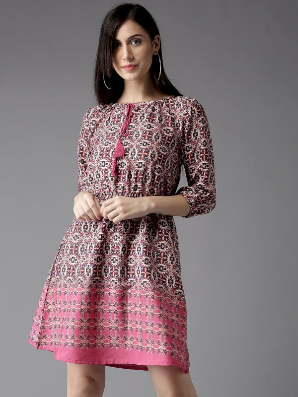 HERE&NOW Women Printed Fit and Flare Dress