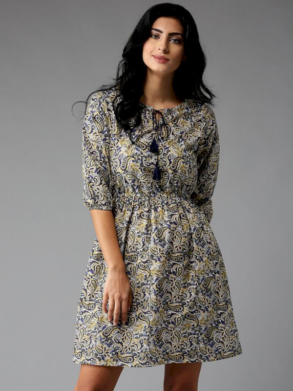 HERE&NOW Printed Fit & Flare Dress