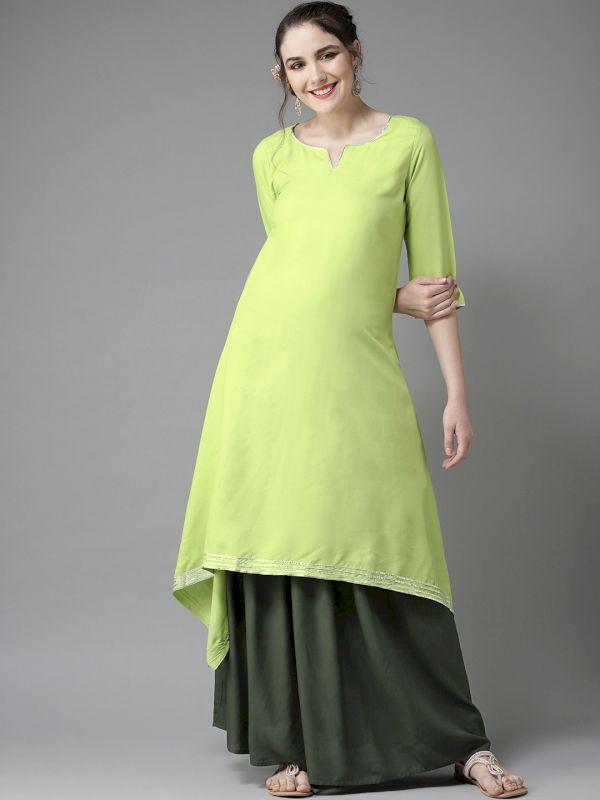 HERE&NOW Women Solid Kurta with Skirt