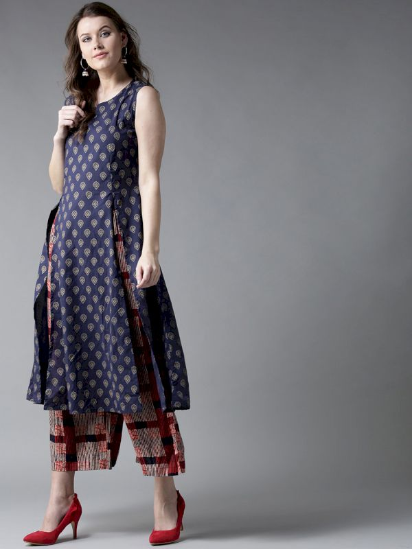 HERE&NOW Women Printed Kurta with Palazzos