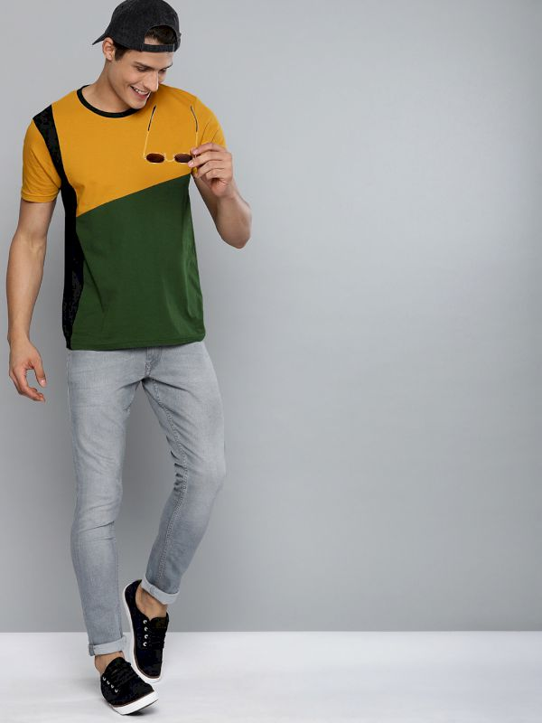 HERE&NOW Colourblocked Round Neck T-shirt