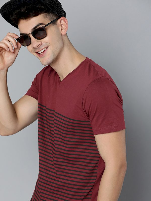 HERE&NOW Striped V-Neck T-shirt