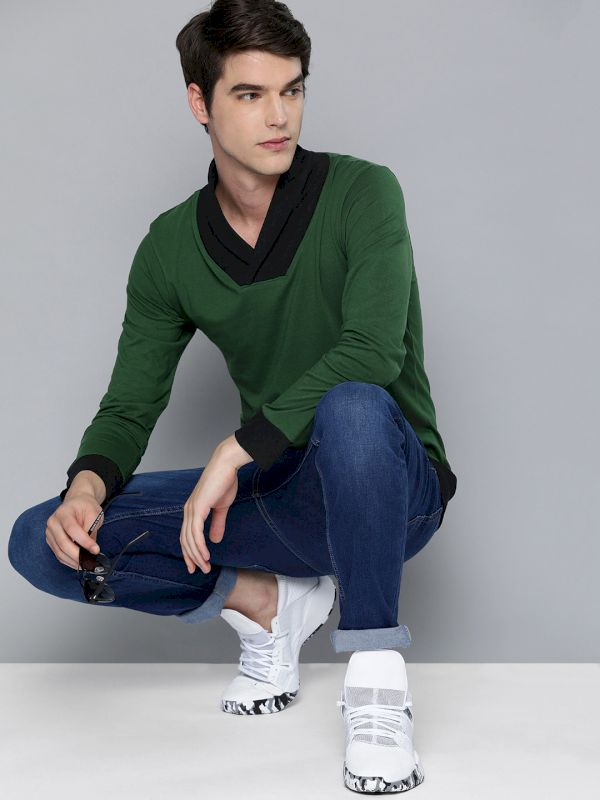 HERE&NOW Men Solid Shawl Collar T-shirt