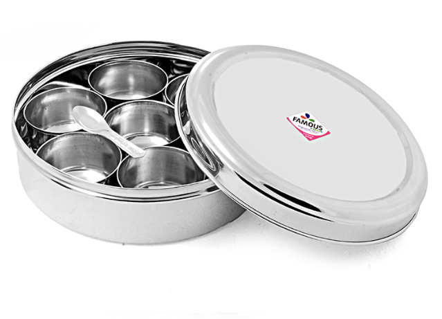 Famous Stainless Steel Fiber Glass Lid Masala Box - Small