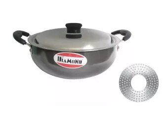Diamond Black Induction Base 230Mm Karahi With Steel Lid -2.8 Litre