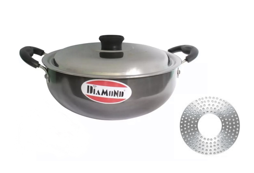 Diamond Black Induction Base 200Mm Karahi With Steel Lid -1.8 Litre