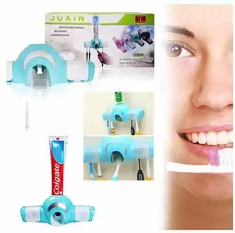 Plastic Automatic Toothpaste Dispenser And 4 Toothbrush Holder For Home Bathroom (Multicolor, Wall Mount)