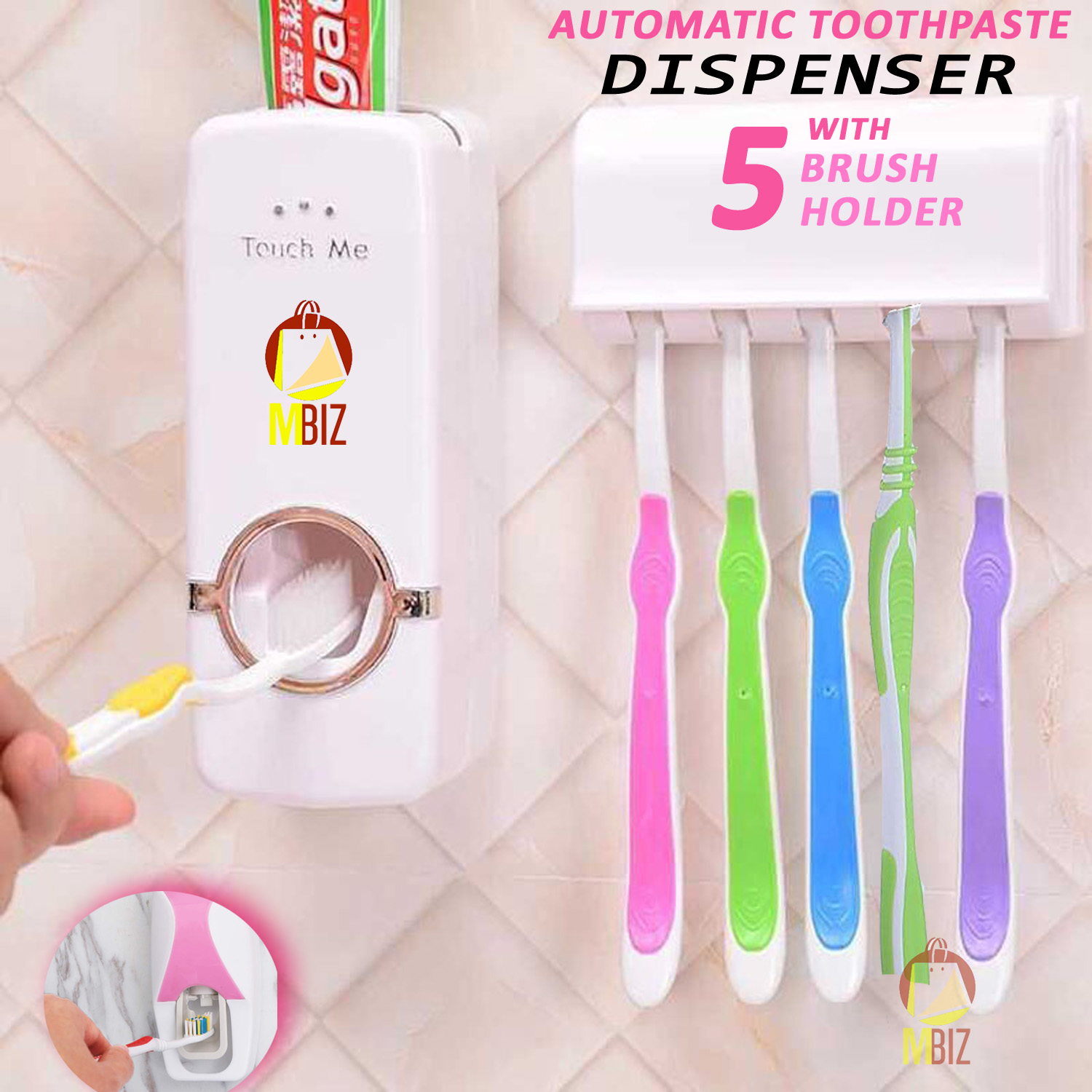 Automatic Universal Toothpaste Dispenser And 5 Tooth Brush Holder For Home Bathroom Acessories