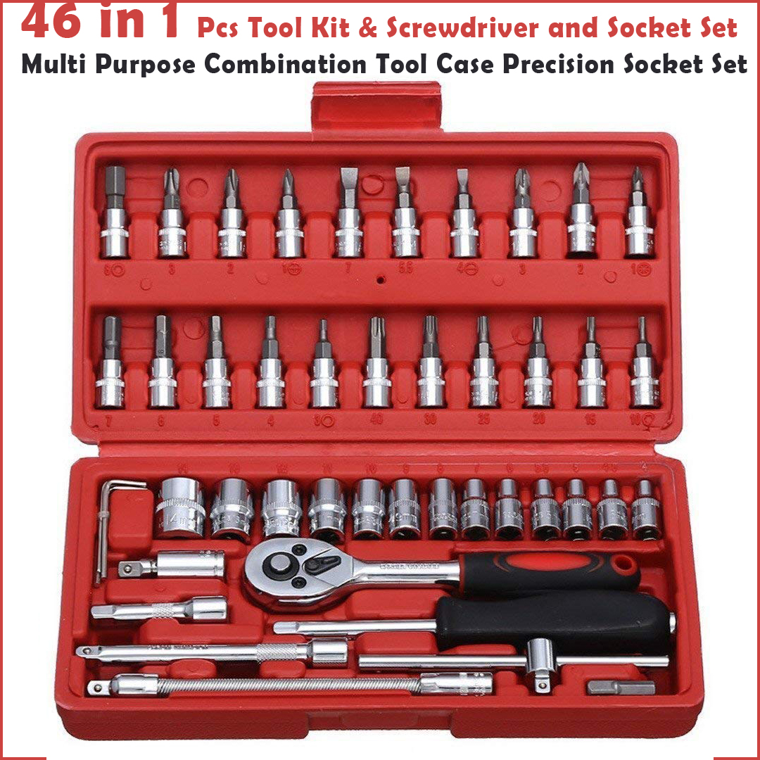 46 in 1 Pcs Tool Kit & Screwdriver and Socket Set Multi Purpose Combination Tool Case Precision Socket Set (Color May Vary)