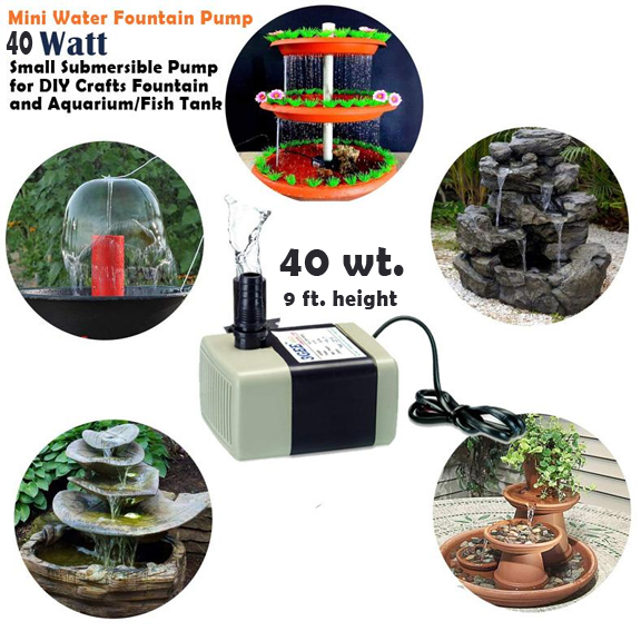 Mini Water Fountain Submersible Pump 40 Wt with 1 year warranty for DIY Crafts Min Vertical Fountain and Aquarium/Fish Tank