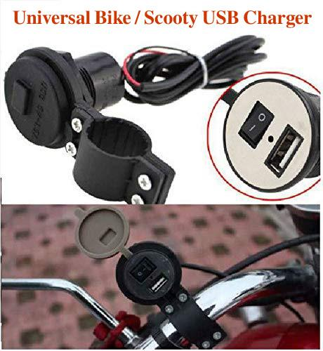 Usb Mobile Charger For Bikes Scooty Cars. (Fast Charging Output : 5V-2A) (Waterproof Sillicon Cover With On/Off Switch)
