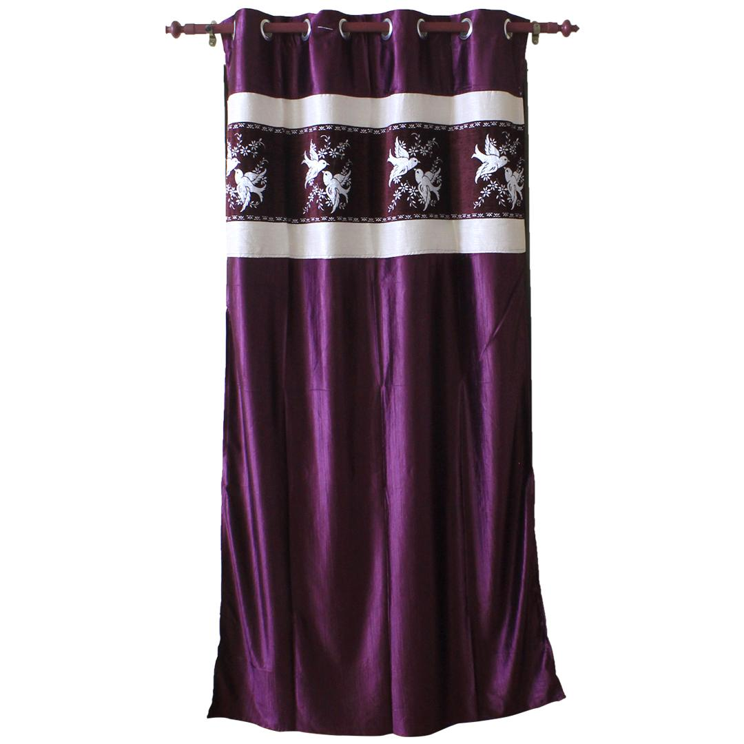 Birds Printed Cotton Fabric Window/Door Curtain - Purple