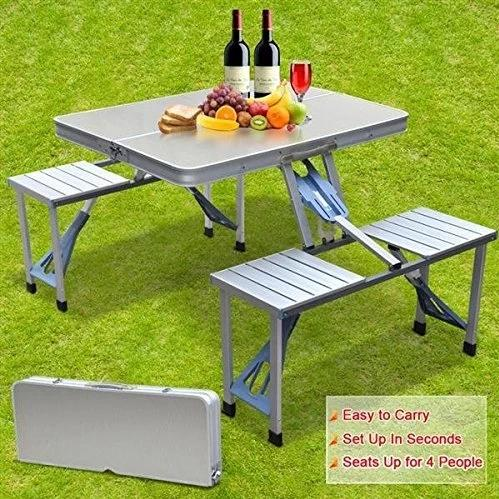 Folding Picnic Table & Chair Set, Portable, Ideal For Camping & Hiking, Aluminium, Silver