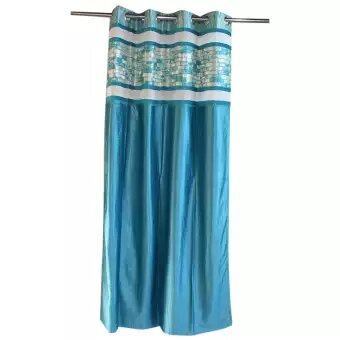 Modern Eyelet Polyester Curtains, Pack of 1 - (Black/Blue/Brown)