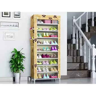 10 Layer 9 Grid Shoe Rack With Cover [Random Colour]