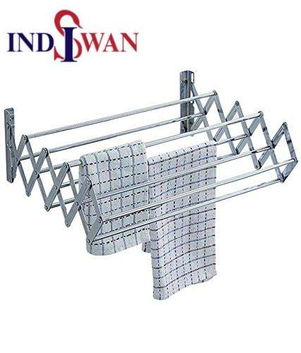 Wall Mounting Foldable Clothes & Towel Drying Rack Cum Hanger Stainless Steel (2.0 Feet)