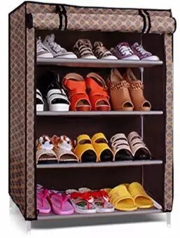 4 Layer Shoe Rack With Cover Space Saver Storage Organizer