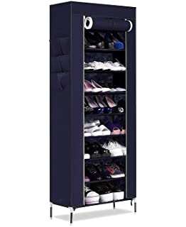 7 Tier Cloth Cabinet And Shoe Rack Organiser With Rod Support, Random Colour