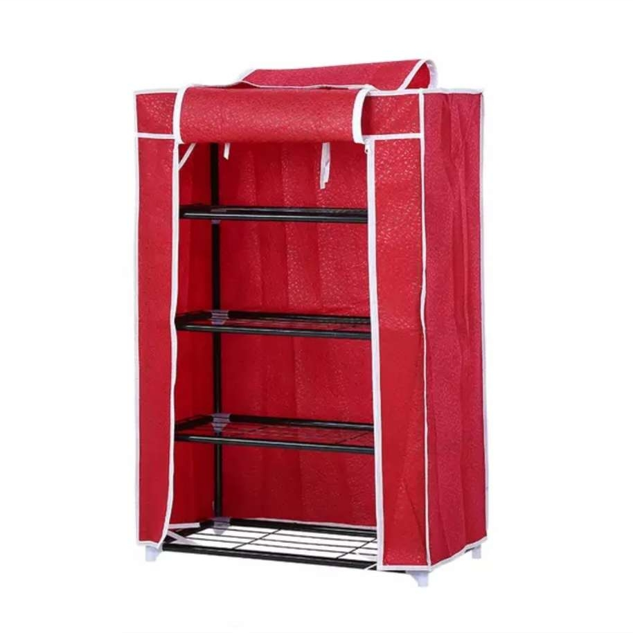 Portable Folding 4 Layer Tier Shoe Rack With Cover (Rod)