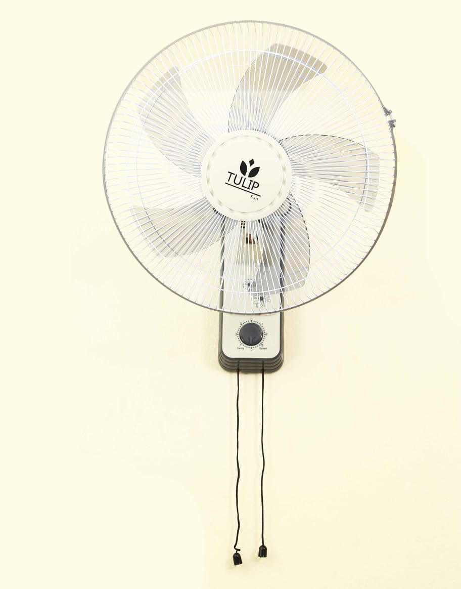 Tulip High Speed Wall Fan with Copper Motor, 5 Leaf, 457mm, Low Noise Motor, Black