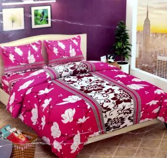 3D Floral Double Bedsheet With 2 Pillow Cover - Pink