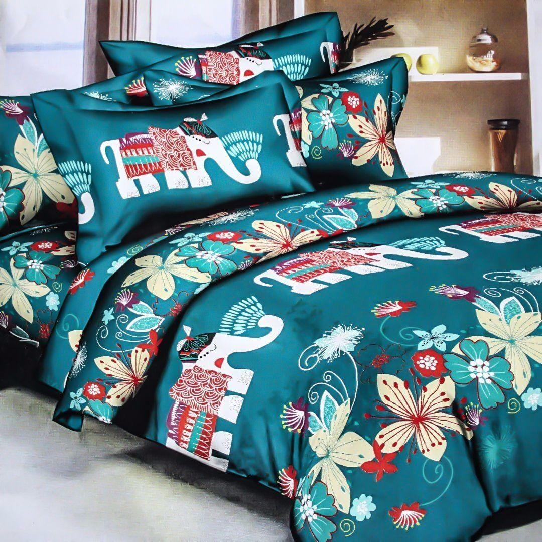 Blue Elephant Cotton Double Bedsheet With 2 Pillow Covers (100% Cotton)