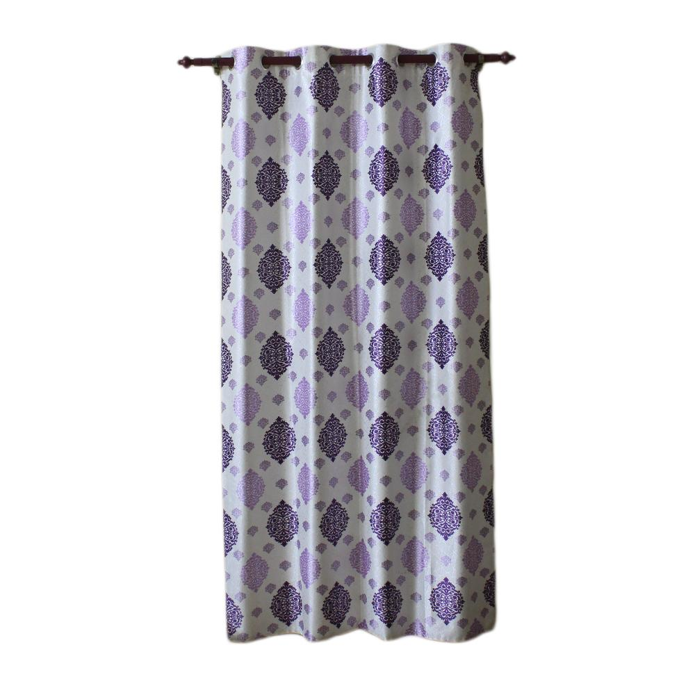 Abstract Design Cotton Fabric Window/Door Curtain - (Purple/Green Blue)