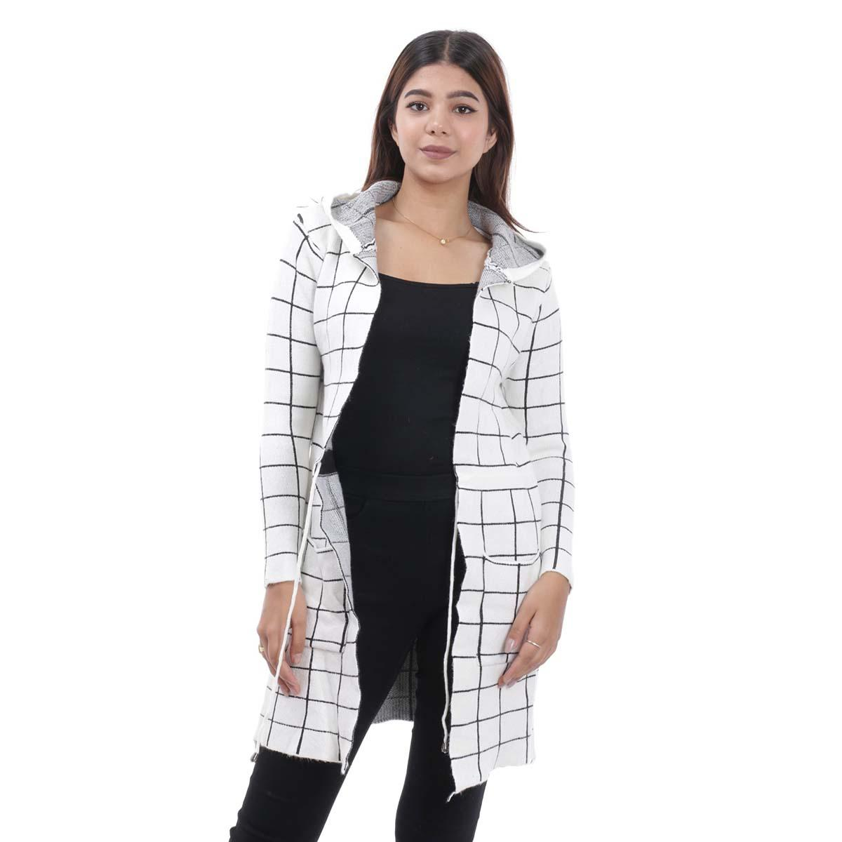 White Check Long Outer Coat For Women By Nepster LCOAT-10