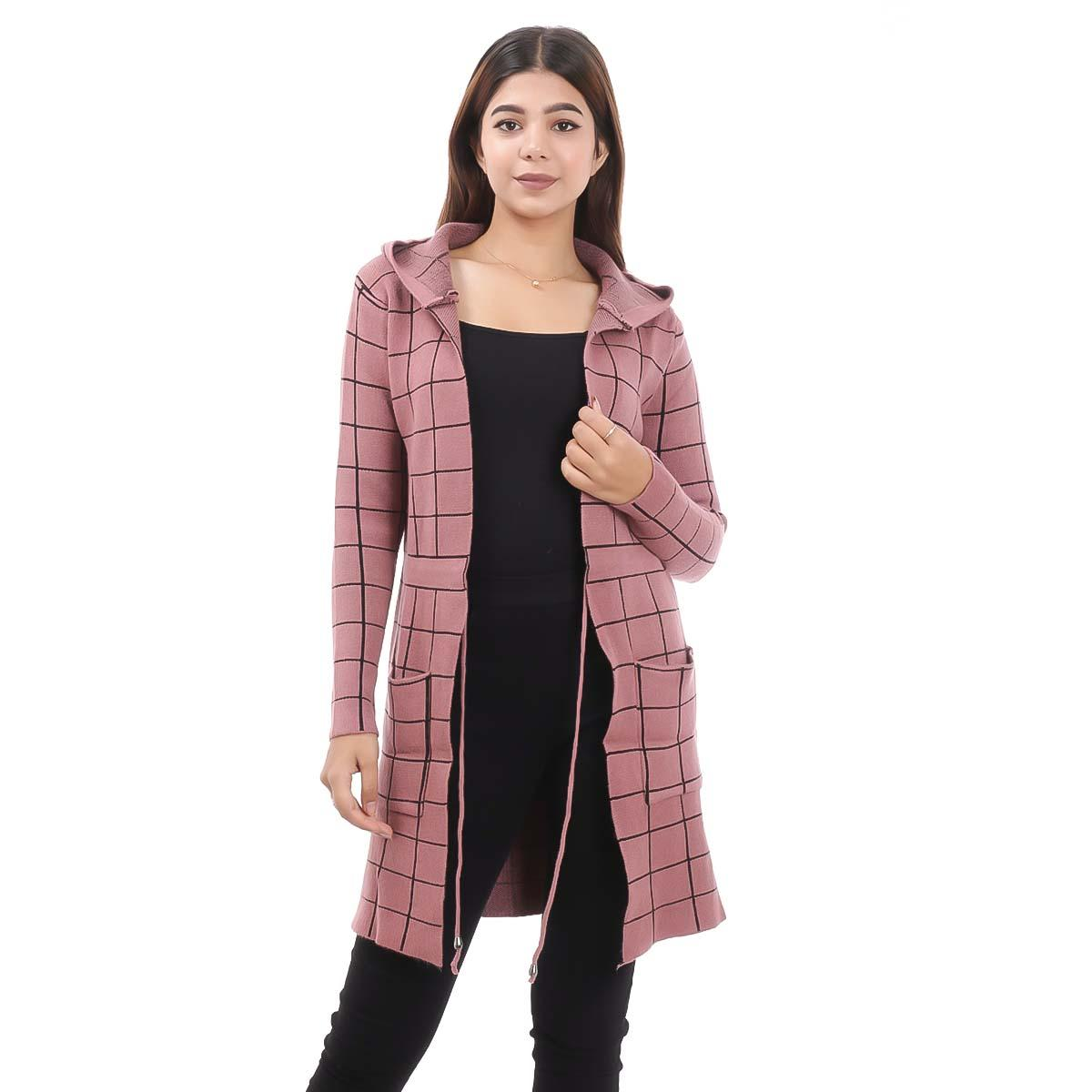 Peach Check Long Outer Coat For Women By Nepster LCOAT-12