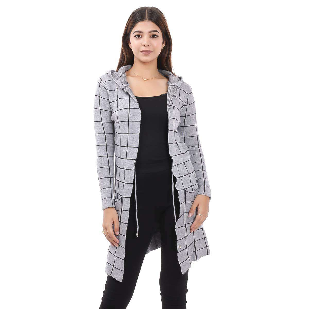Grey Check Long Outer Coat For Women By Nepster LCOAT-4