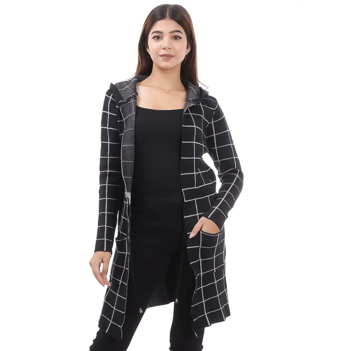 Black Check Long Outer Coat For Women By Nepster LCOAT-5