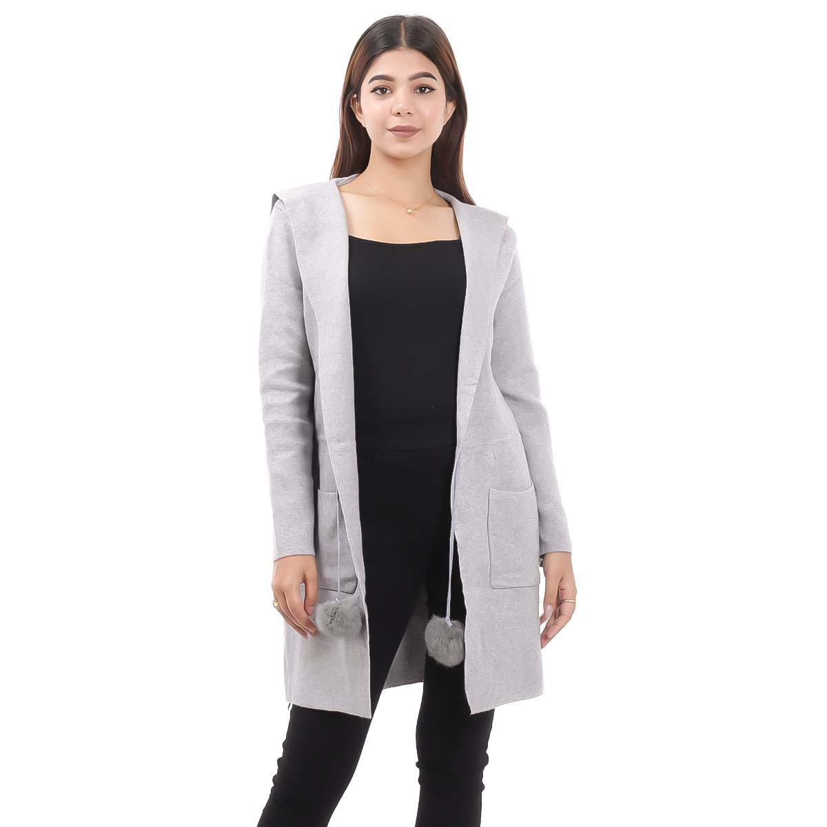 Grey Long Outer Coat For Women By Nepster LCOAT-8