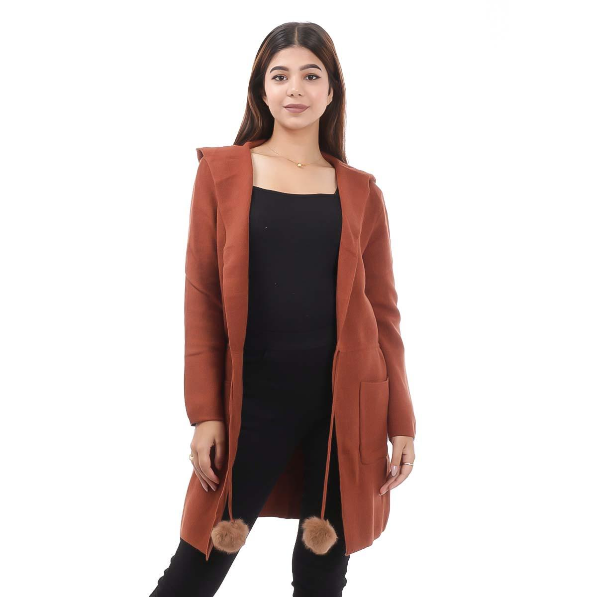Brown Long Outer Coat For Women By Nepster LCOAT-9