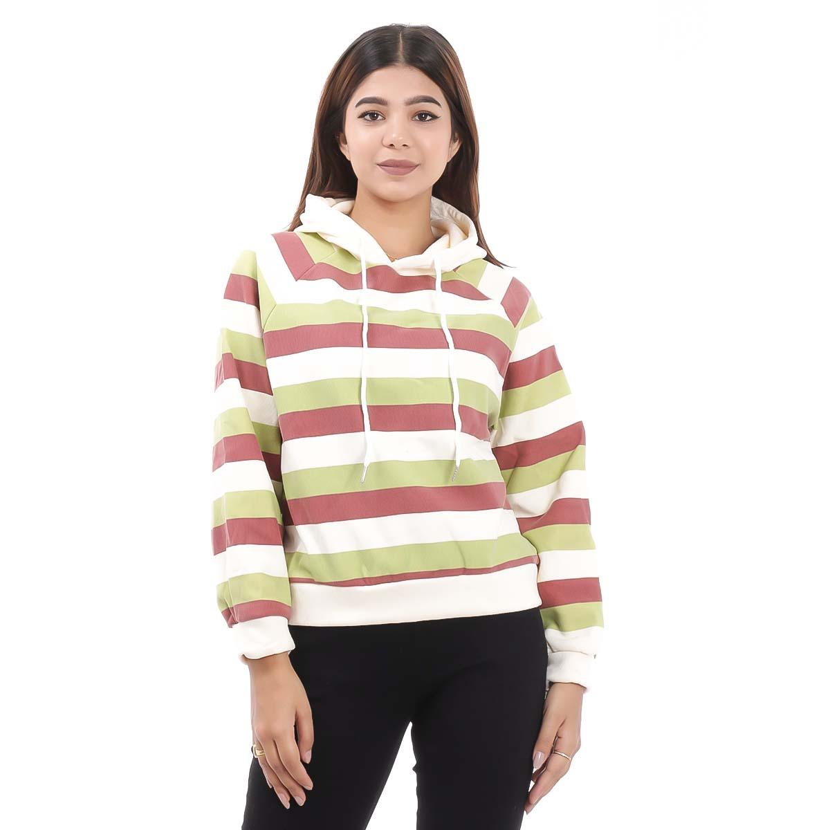 Multi Colored Solid Hooded Sweatshirts For Women By Nepster WMULTISW-1