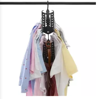 Magic Clothes Hangers Organizer Foldable Clothing Hooks Dual Wide Shoulders Collapsible Rack Heavy Duty For Home Closet Indoor Space Saving