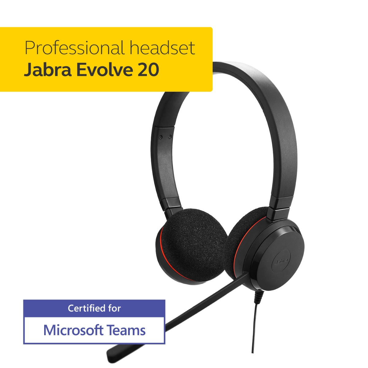 Jabra Evolve 20 MS Stereo Headset – Microsoft Certified Headphones for VoIP Softphone with Passive Noise Cancellation – USB-Cable with Controller – Black