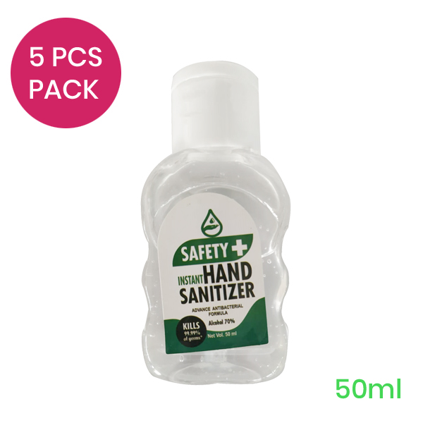 Pack of 5 pcs Safety+ Instant Hand Sanitizer 50ml