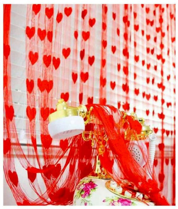 Fabolic 211 Cm 7 Ft Polyester Window Curtain Single Curtain Self Design, Red