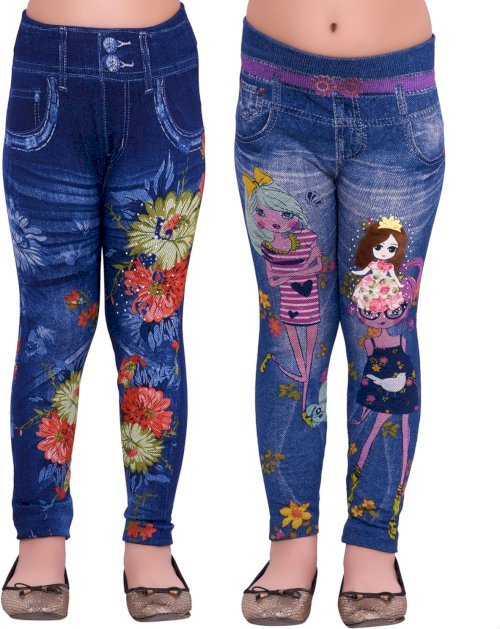 Ziva Fashion Jegging For Girls Blue, Pack Of 2