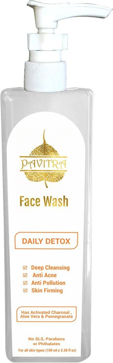 Pavitra+ Organic Activated Charcoal Acne Oil And Pollution Control  Face Wash 100 Ml