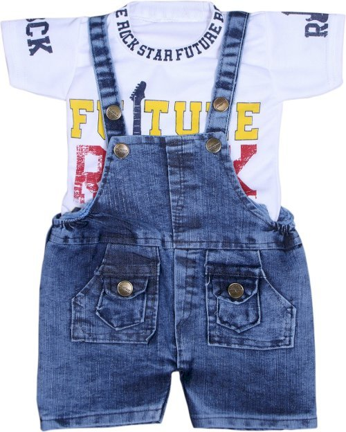 Crunchy Dungaree For Boys & Girls Casual Printed Cotton Blend White, Pack Of 1