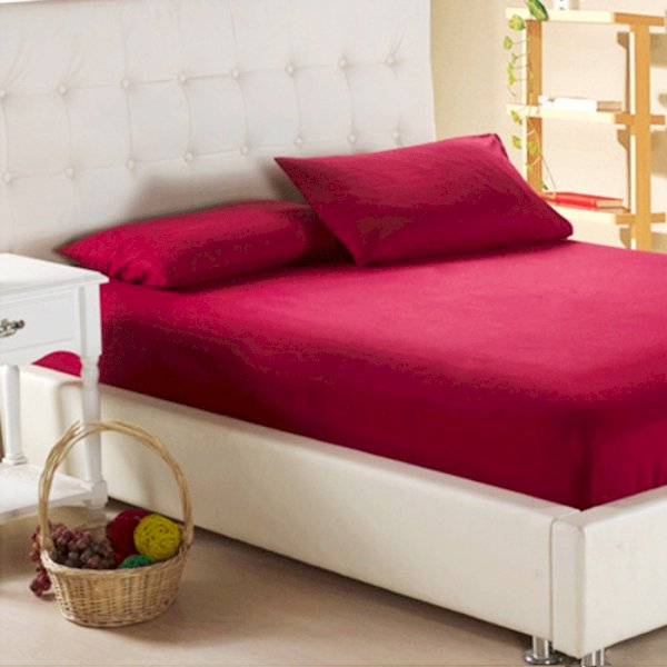 Sleep Matic Cotton Double Bed Cover Maroon