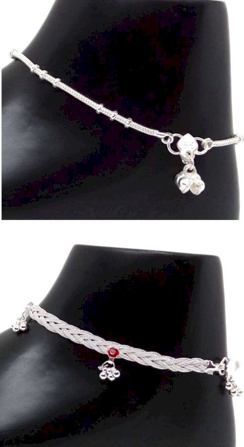 11 Girls Beautiful And Designer Sterling Silver Exclusive Anklet Set  Pack Of 2 Nickel Anklet Pack Of 2