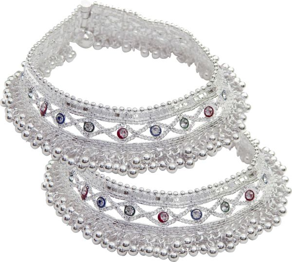 Freshvibes Traditional Indian Heavy Silver Payal For Women Metal Anklet Pack Of 2